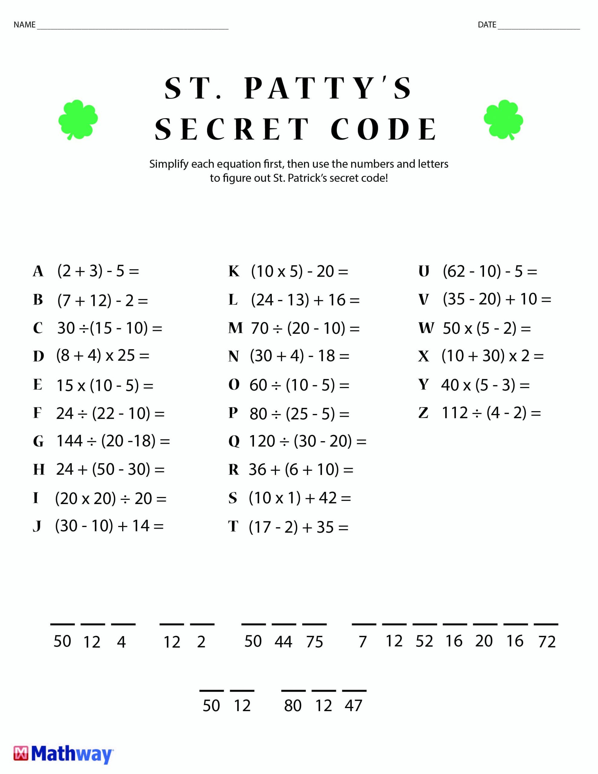Math Secret Code Worksheets Hidden Code Worksheets