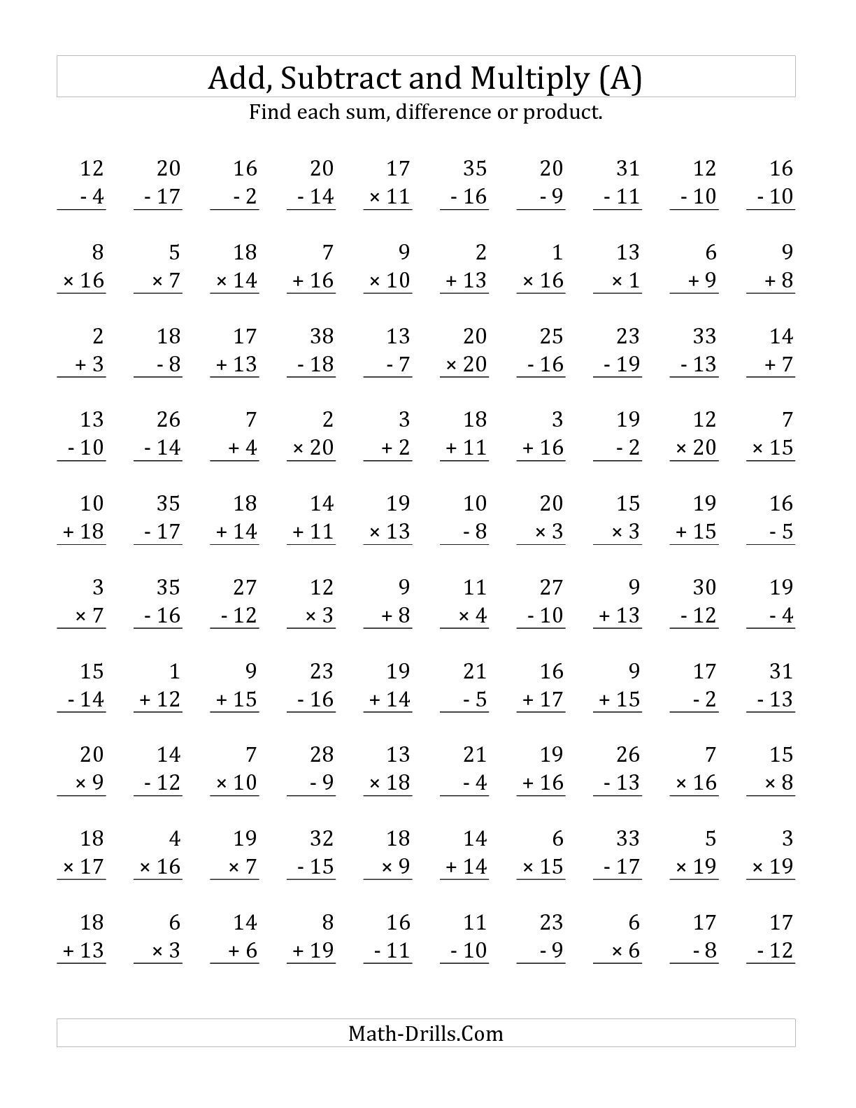 Math Worksheets Addition and Subtraction the Adding Subtracting and Multiplying with Facts From 1 to