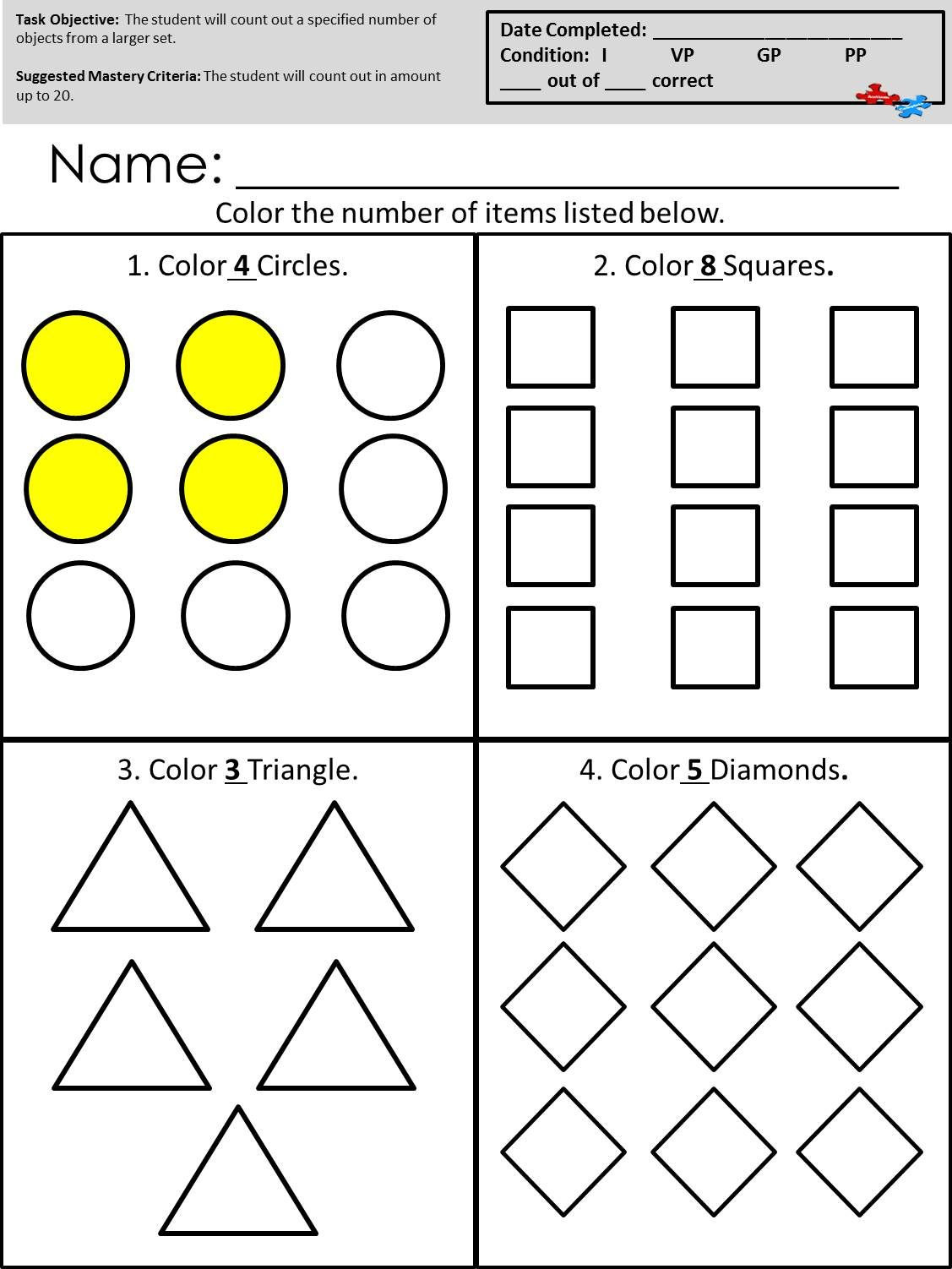 Math Worksheets for Autistic Students Count Out Objects From A Larger Set Available at