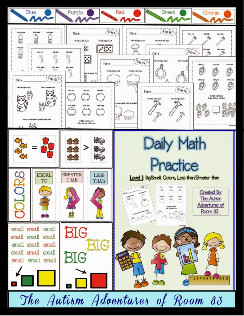 Math Worksheets for Autistic Students Daily Math Practice Level 1 Big Small More Less Colors