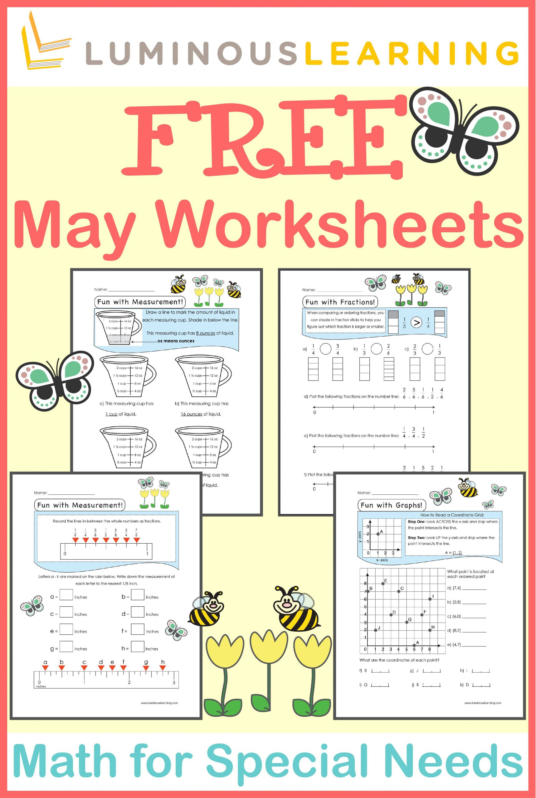 Math Worksheets for Autistic Students Luminous Learning Worksheets are Designed with Built In