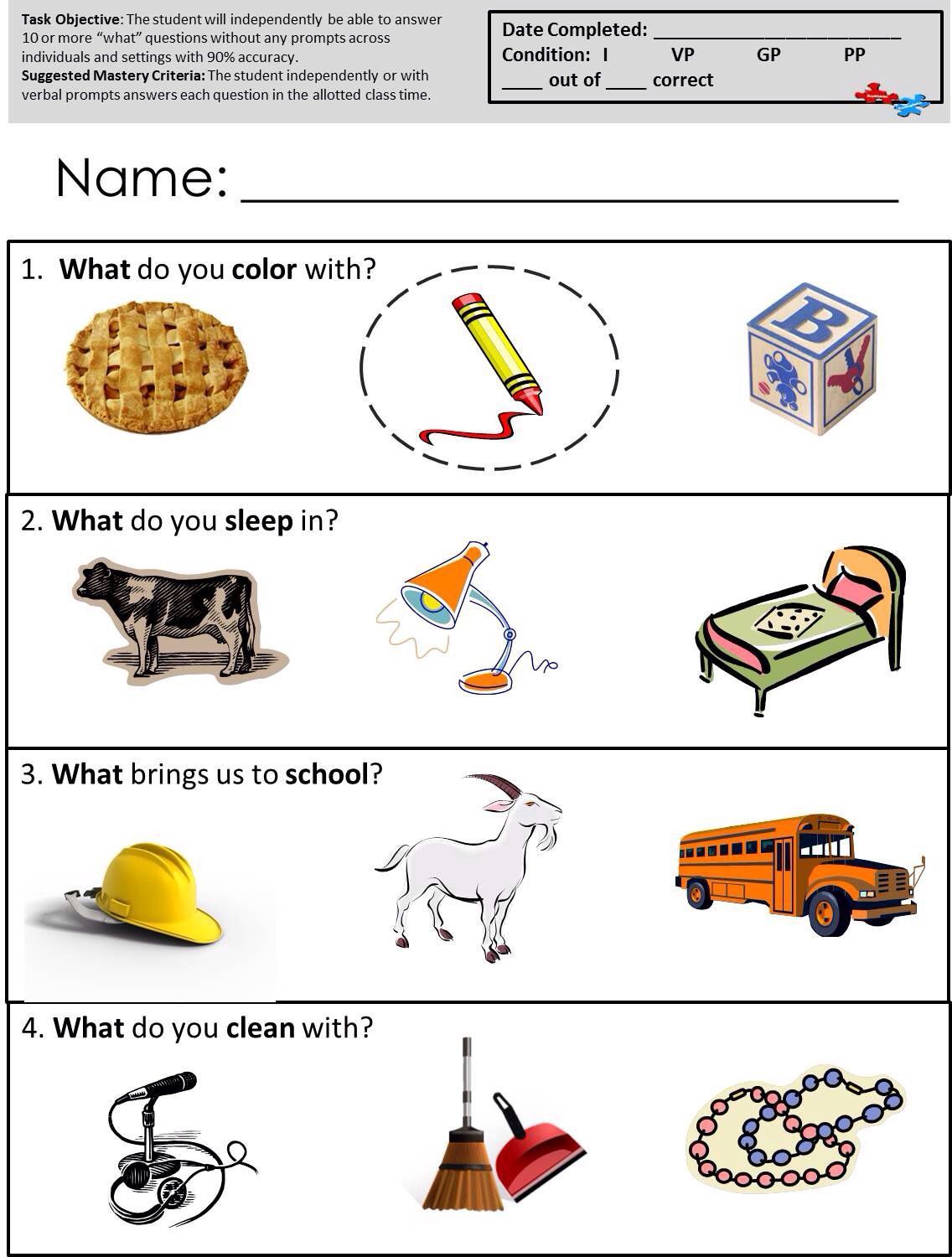 Math Worksheets for Autistic Students Speech therapy Worksheets