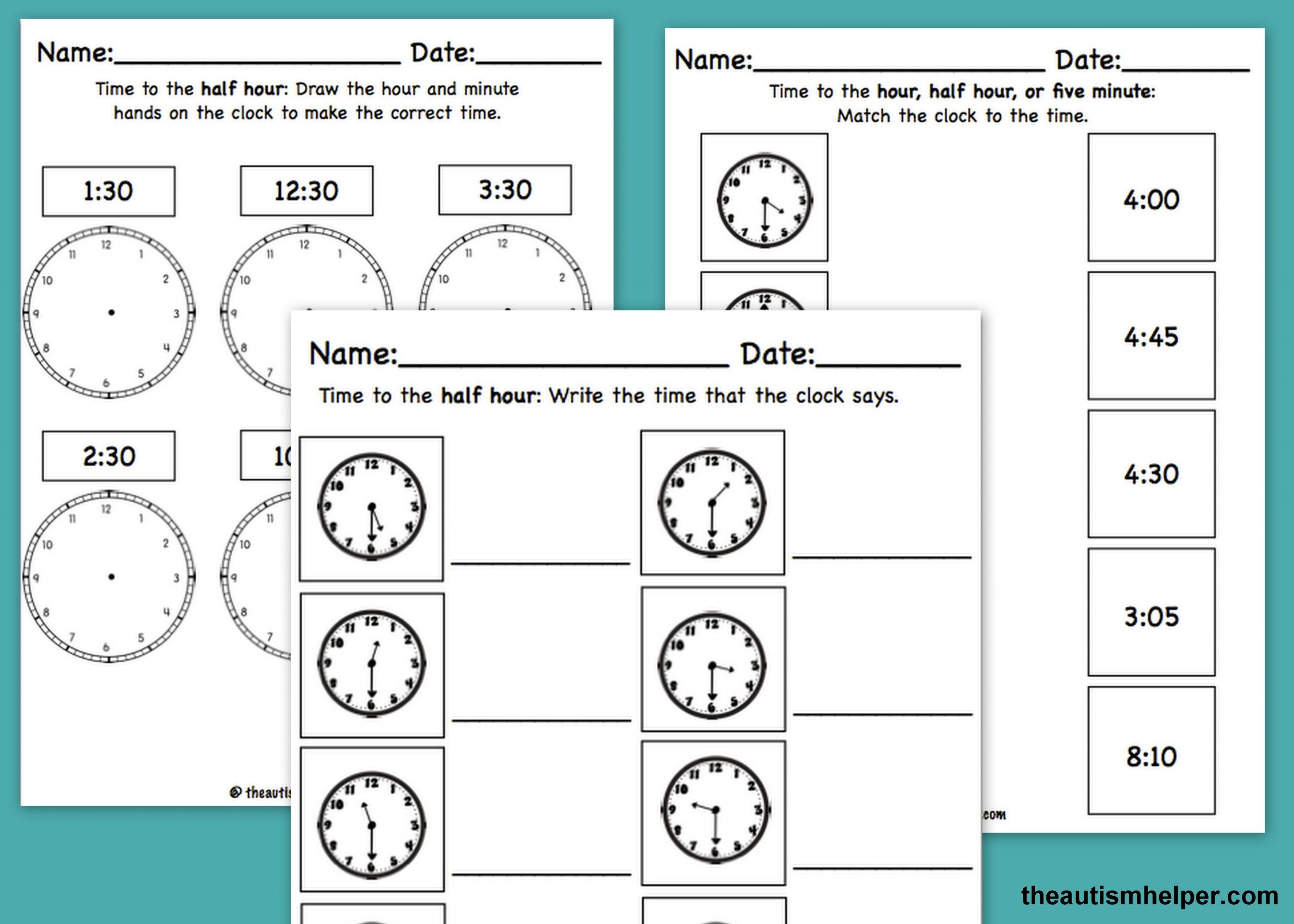 Math Worksheets for Autistic Students Time Mega Pack for Special Education