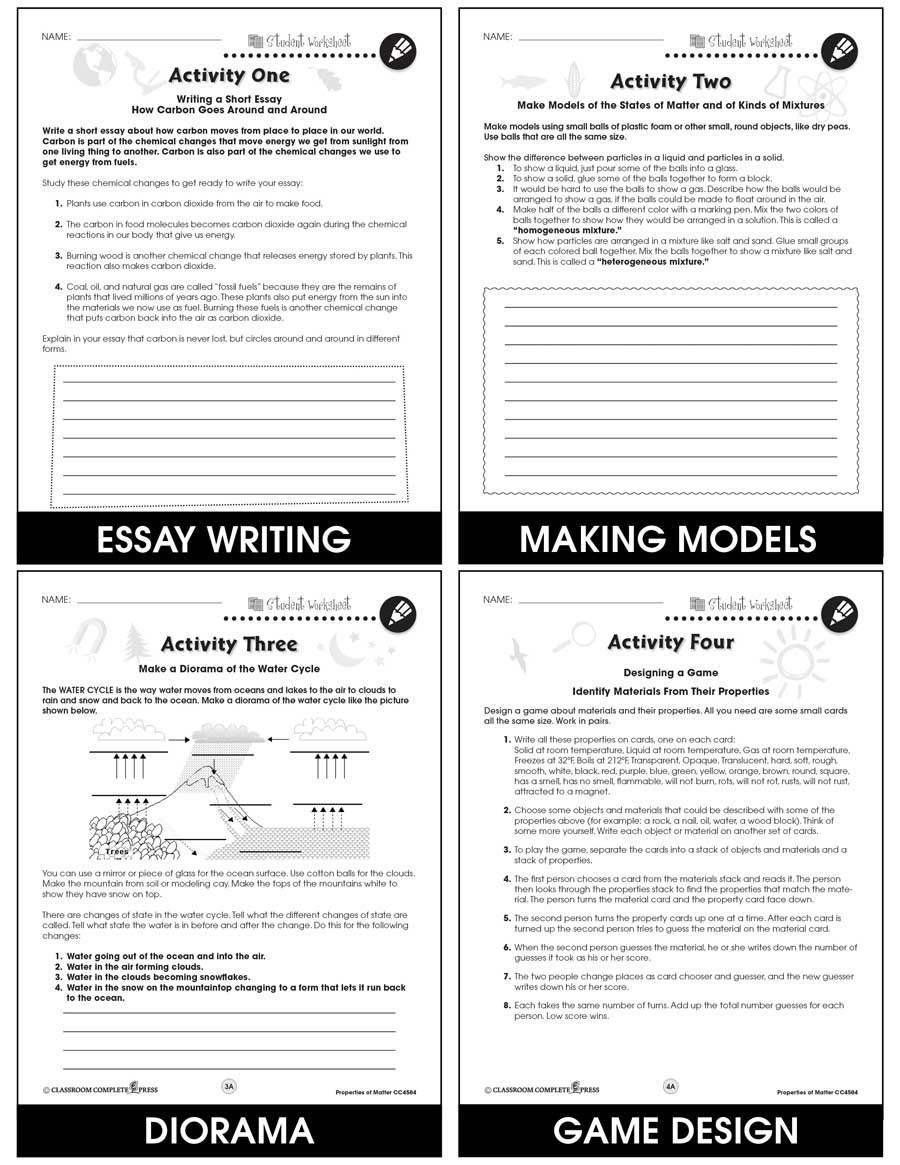 Matter Worksheets 5th Grade Properties Of Matter Bonus Worksheets Grades 5 to 8