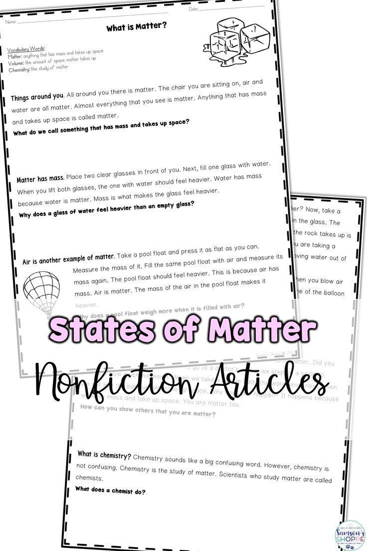 Matter Worksheets 5th Grade States Of Matter