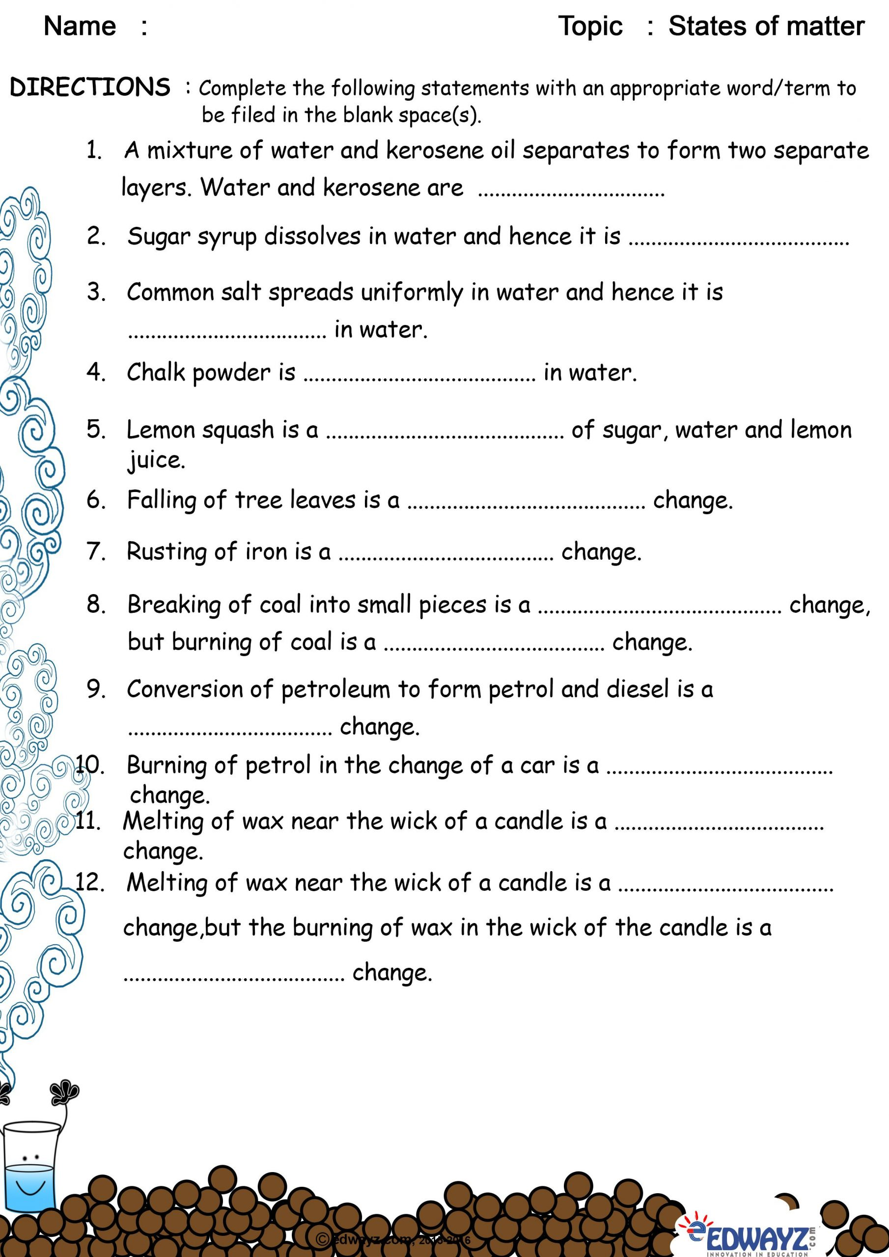 Matter Worksheets 5th Grade States Of Matter solid Liquid Gas Worksheets