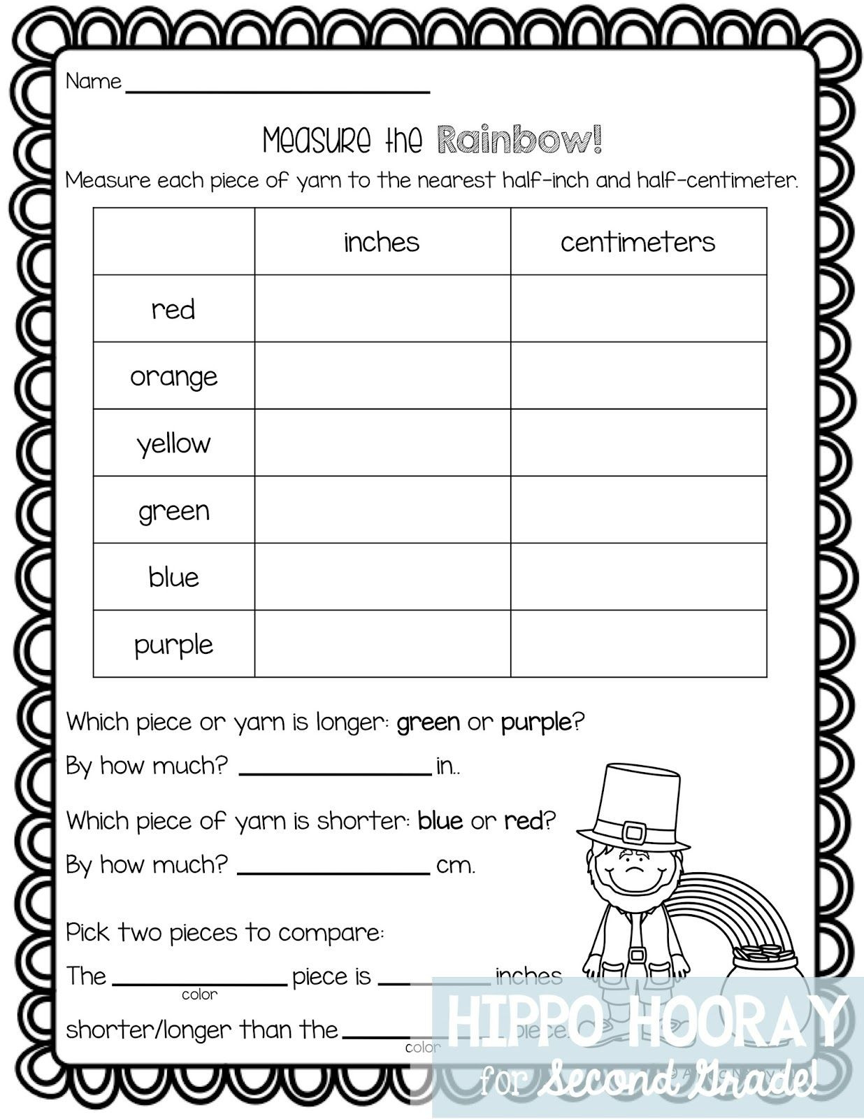 Measurement Worksheet 2nd Grade St Patrick S Day Math Freebie