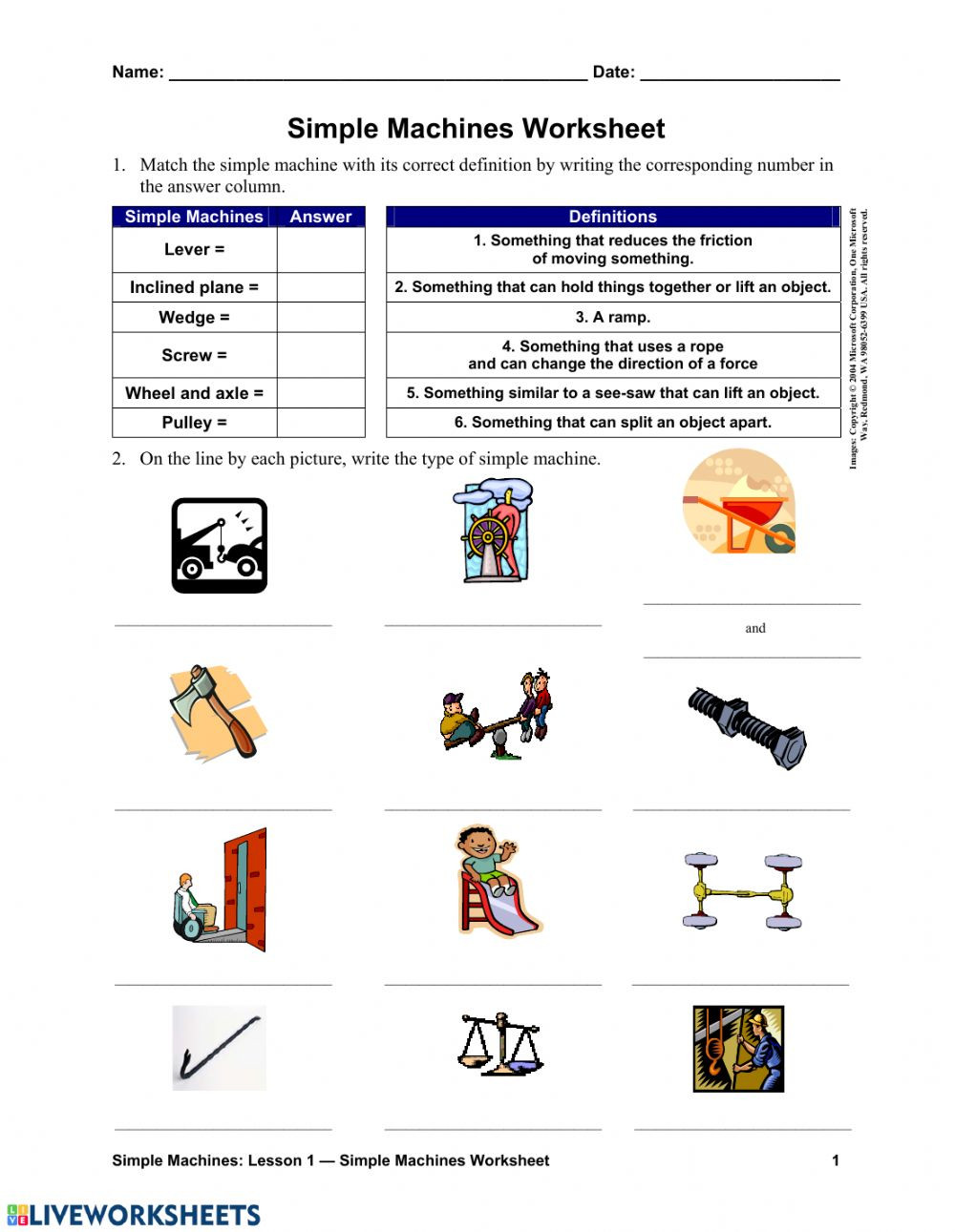 Measurement Worksheet 3rd Grade Simple Machines Interactive Worksheet Worksheets Grade