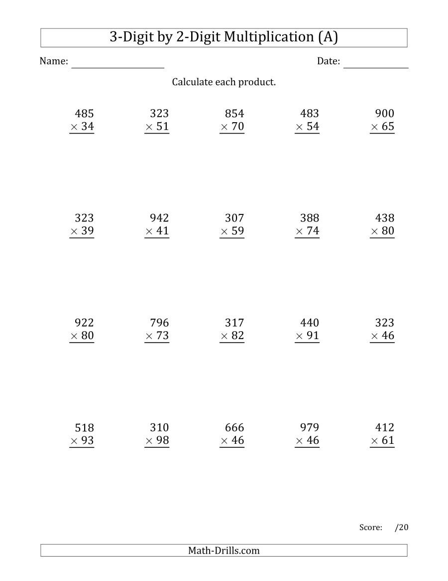 Measurement Worksheet Grade 3 Multiplying 3 Digit by 2 Digit Numbers with Ma Separated