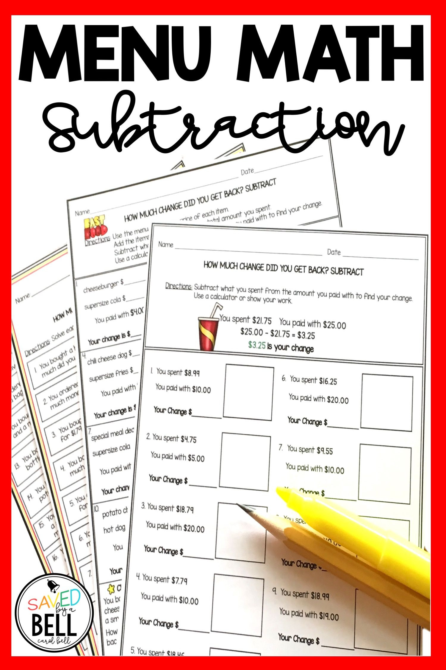 Menu Math Worksheets Free Subtraction Money Worksheets and Word Problems Menu Math