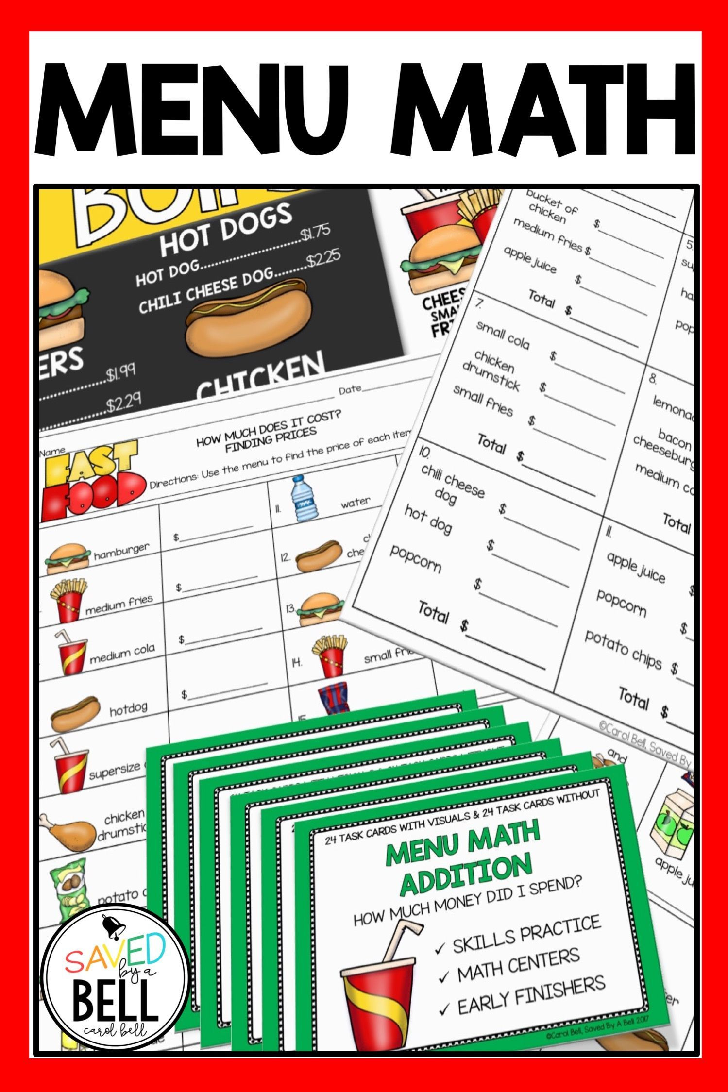 Menu Math Worksheets Printable Addition Worksheets and Task Card Bundle Menu Math
