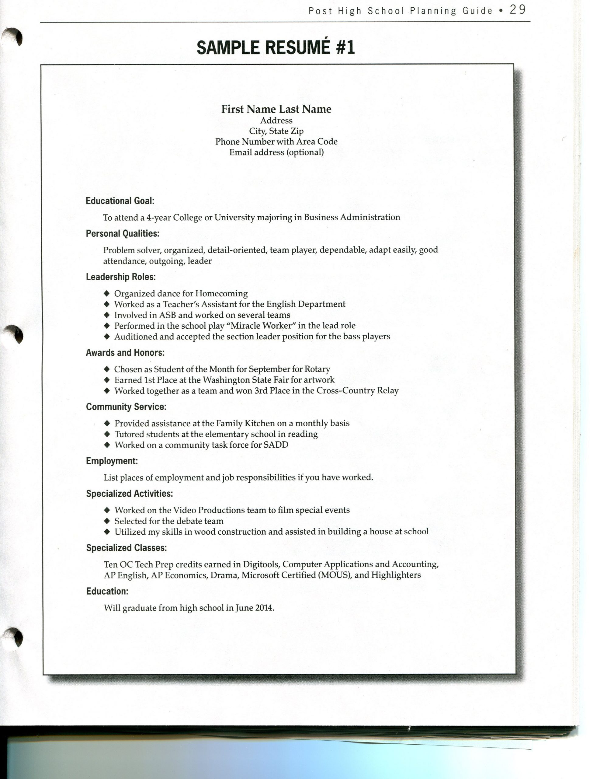 Middle School Resume Worksheet Blank Resume Worksheet for High School Students