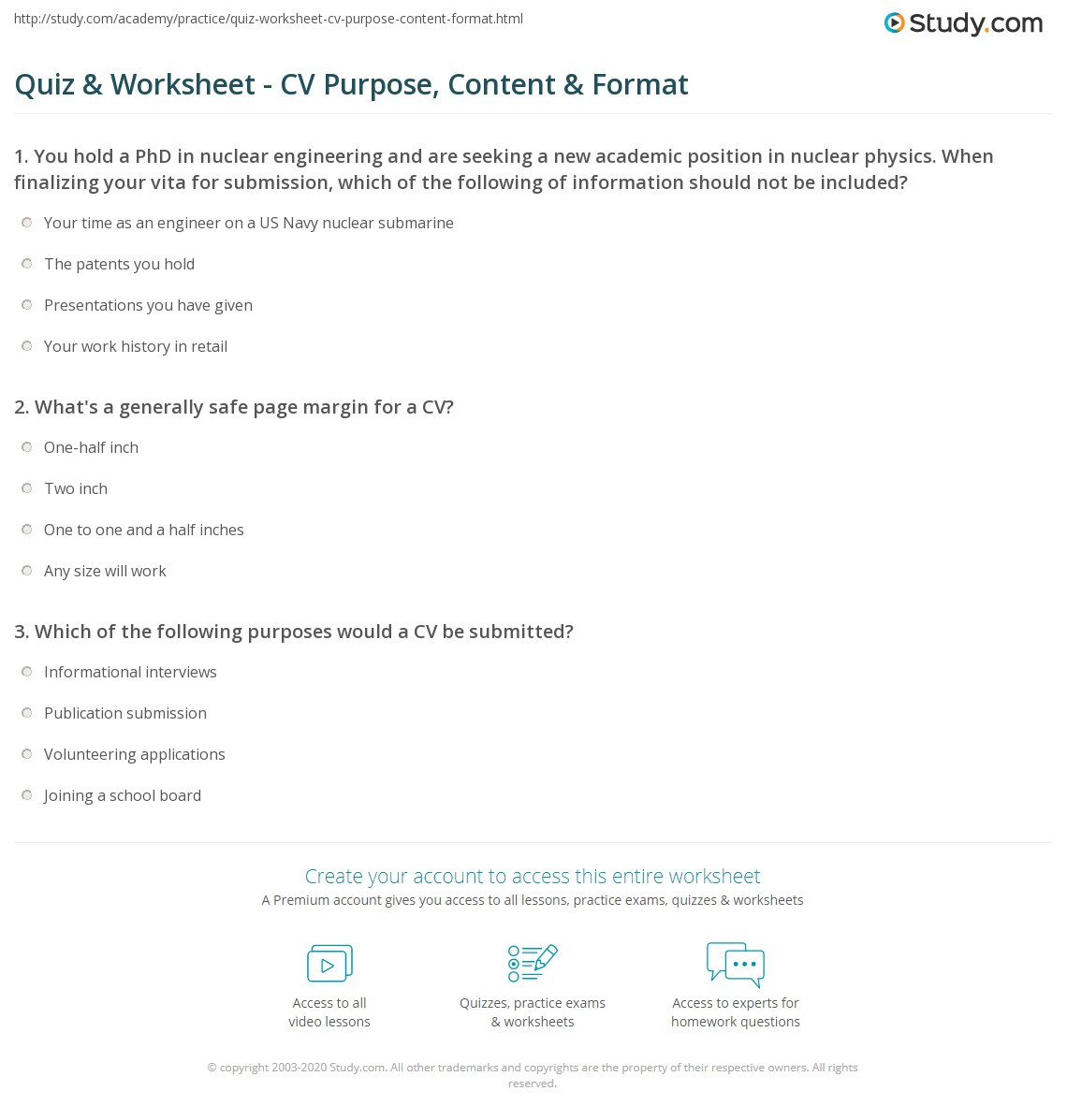 Middle School Resume Worksheet Quiz & Worksheet Cv Purpose Content & format