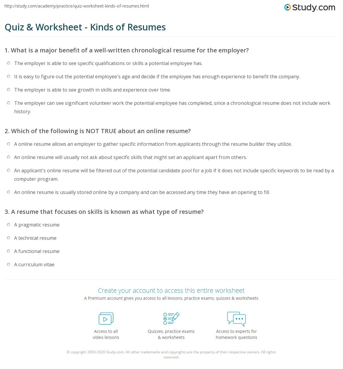 Middle School Resume Worksheet Quiz & Worksheet Kinds Of Resumes