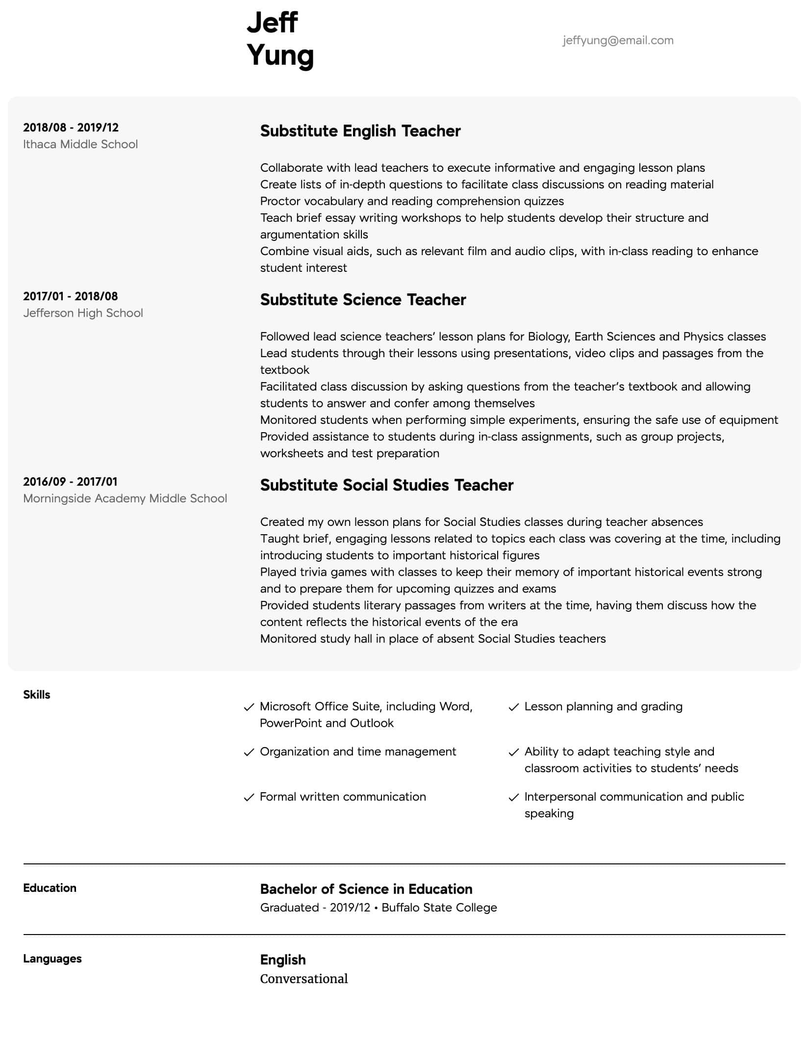 Middle School Resume Worksheet Substitute Teacher Resume Samples