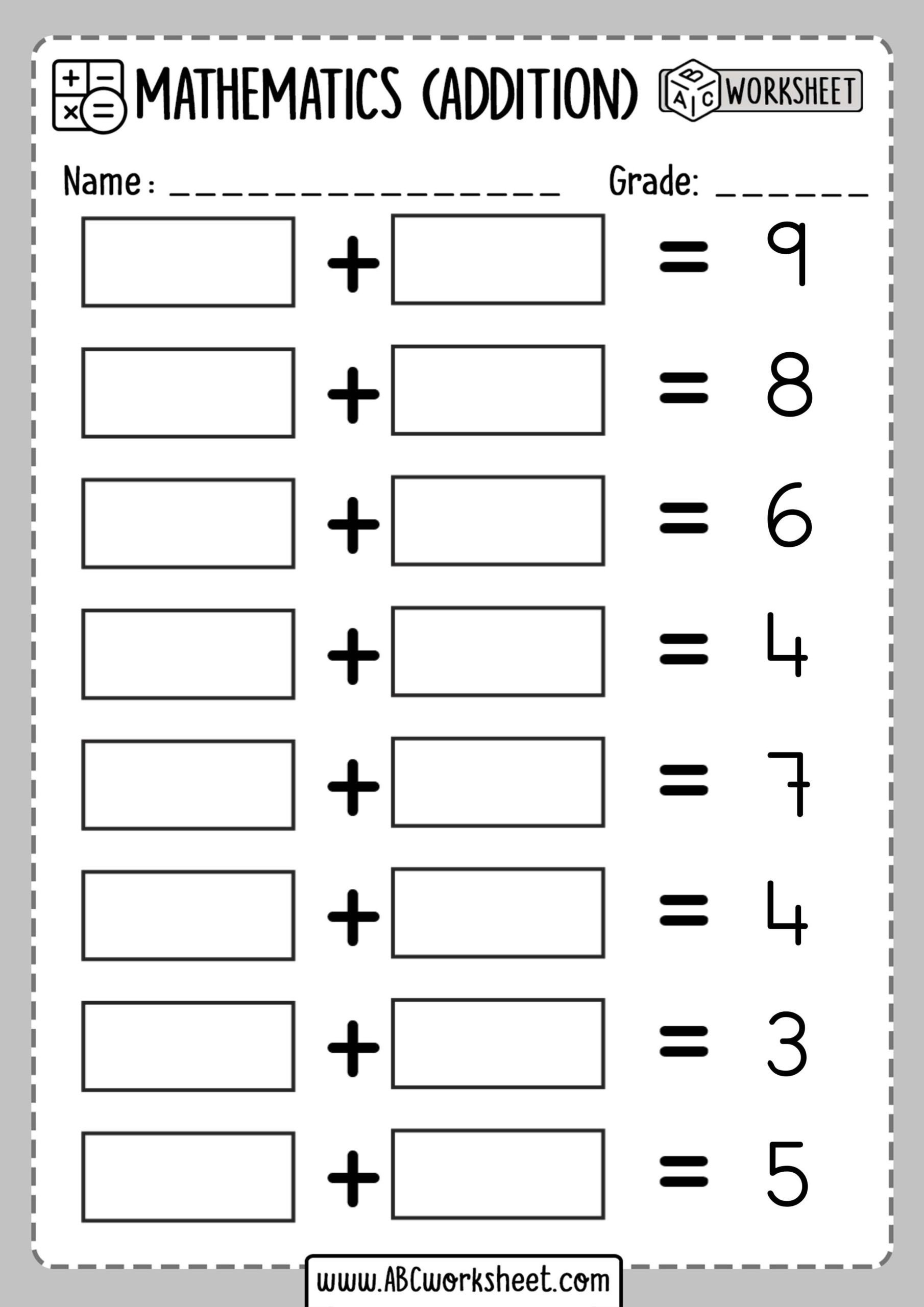 Missing Addend Worksheets First Grade Missing Addend Worksheet 6