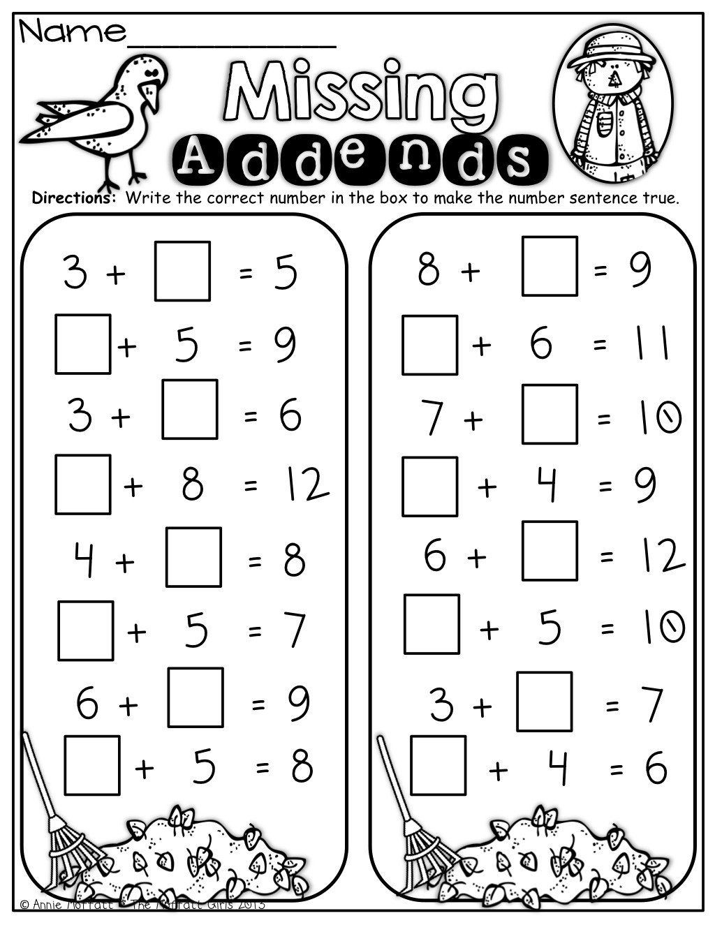 Missing Addend Worksheets First Grade Pin On Printable Worksheet for Kindergarten