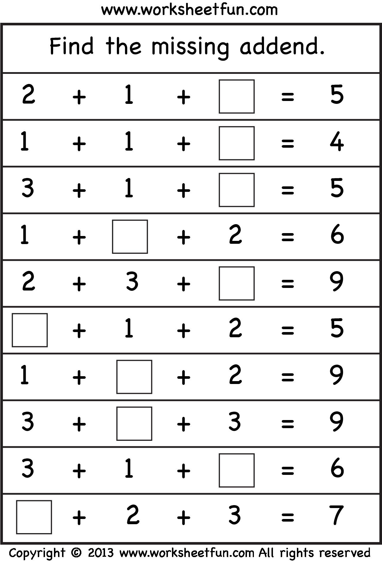 Missing Addends Worksheets First Grade Missing Addend Kids Math Pinterest