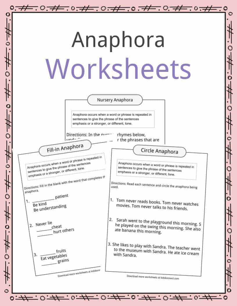 Mood Worksheets for Middle School Anaphora Examples Definition & Worksheets for Kids