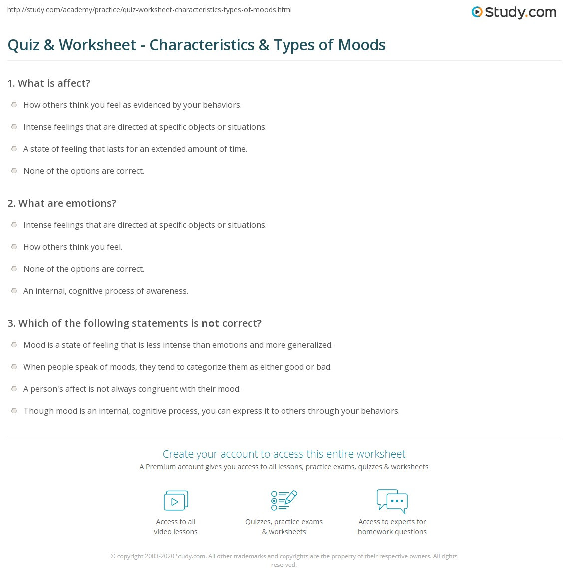 Mood Worksheets for Middle School Quiz & Worksheet Characteristics & Types Of Moods