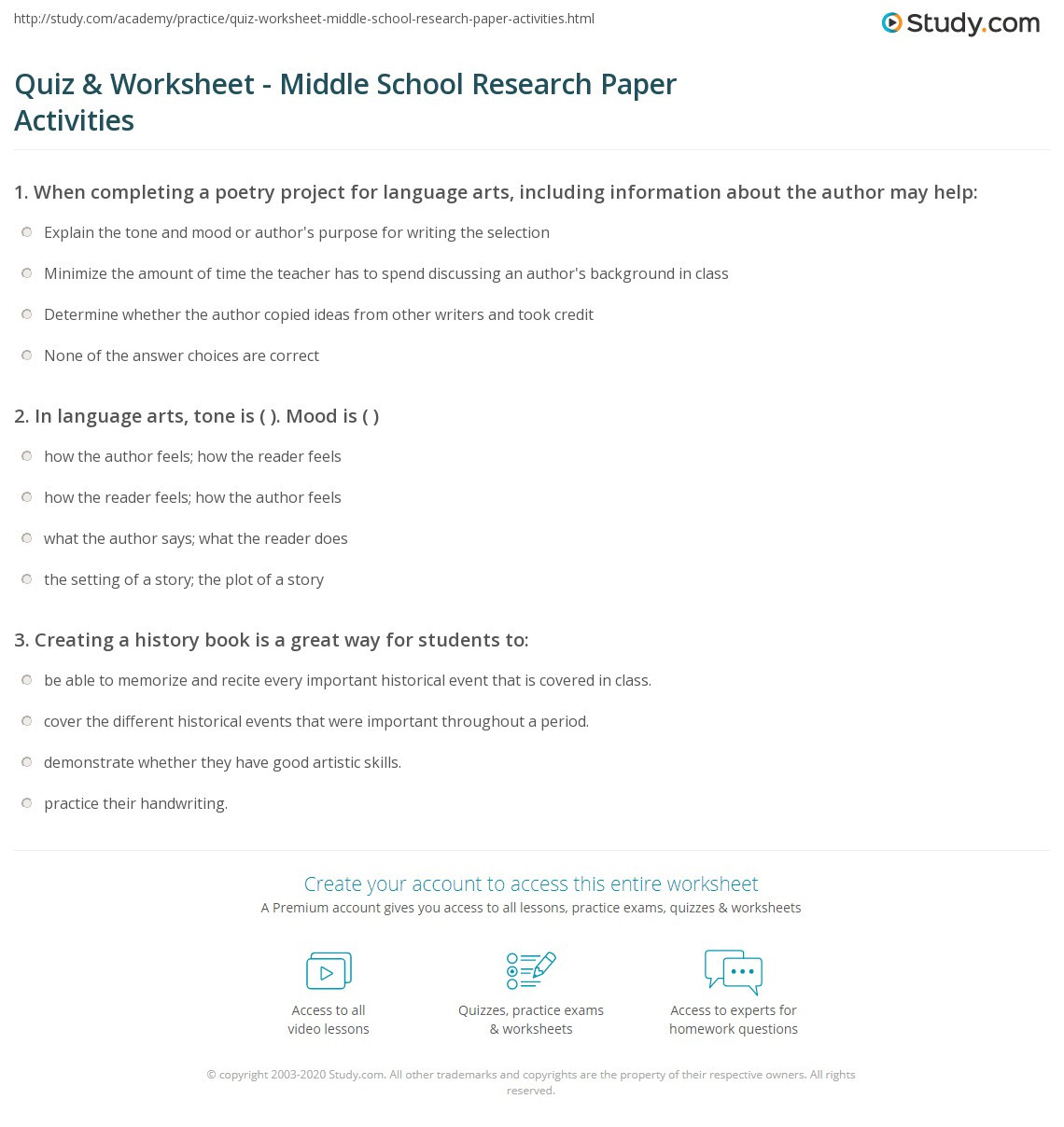 Mood Worksheets for Middle School Quiz & Worksheet Middle School Research Paper Activities