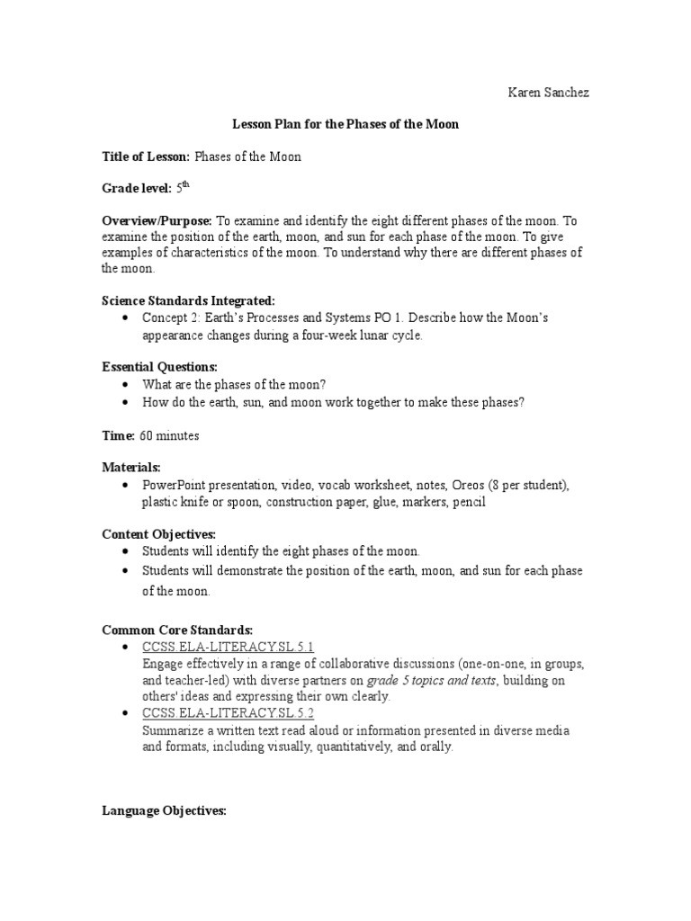 Moon Phases Worksheet 5th Grade Lrc 417 Siop Lesson Plan Moon