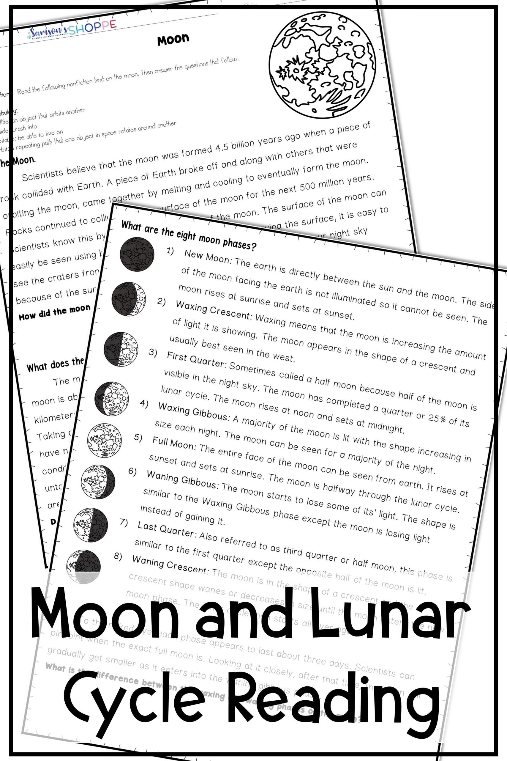 Moon Phases Worksheet 5th Grade Moon and Lunar Phases Activities