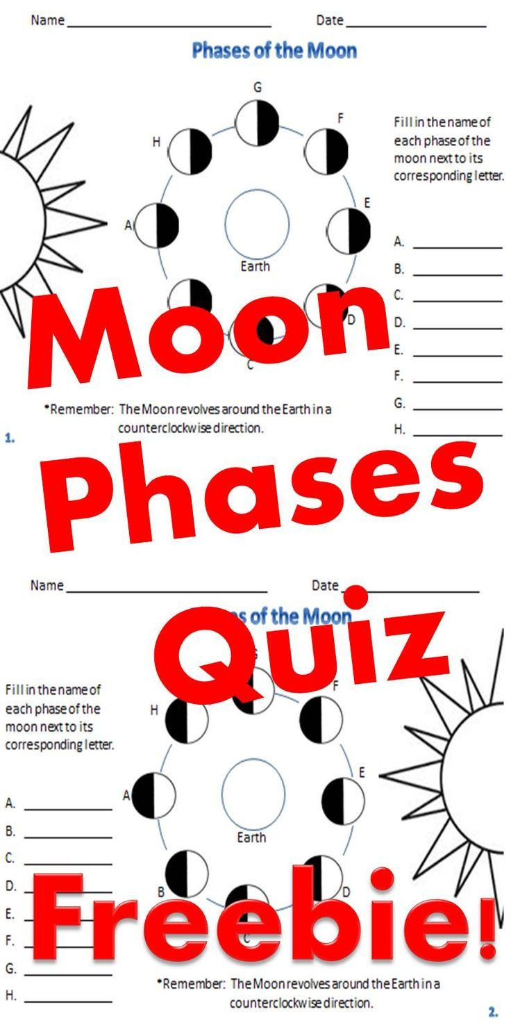 Moon Phases Worksheet 5th Grade Phases Of the Moon Moon Phases Quiz