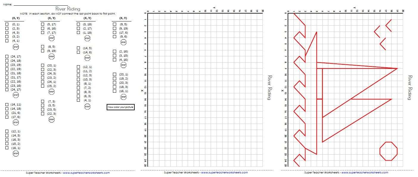 Mystery Graph Pictures Printable Free ordered Pairs and Coordinate Plane Worksheets