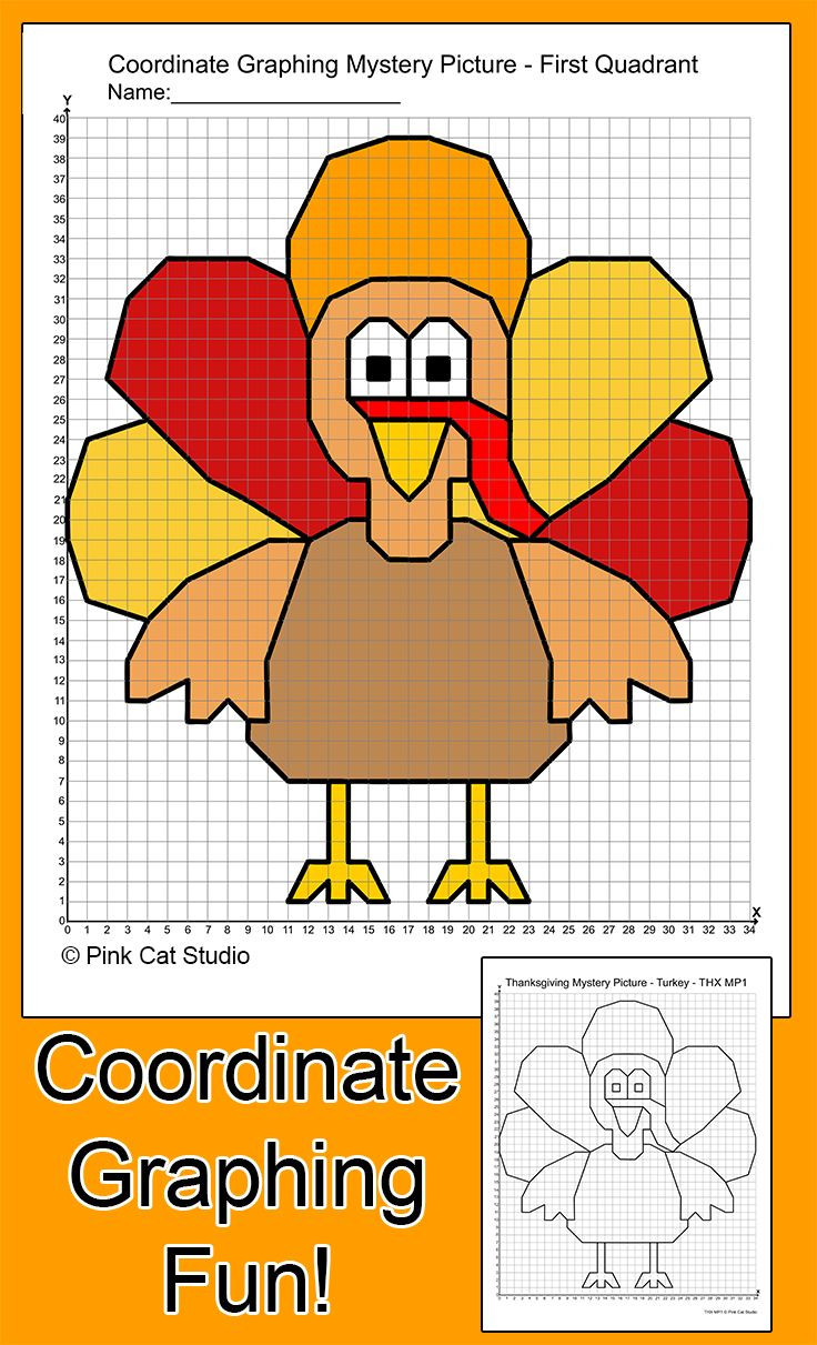 Mystery Graph Pictures Printable Free Thanksgiving Math Coordinate Graphing Plotting