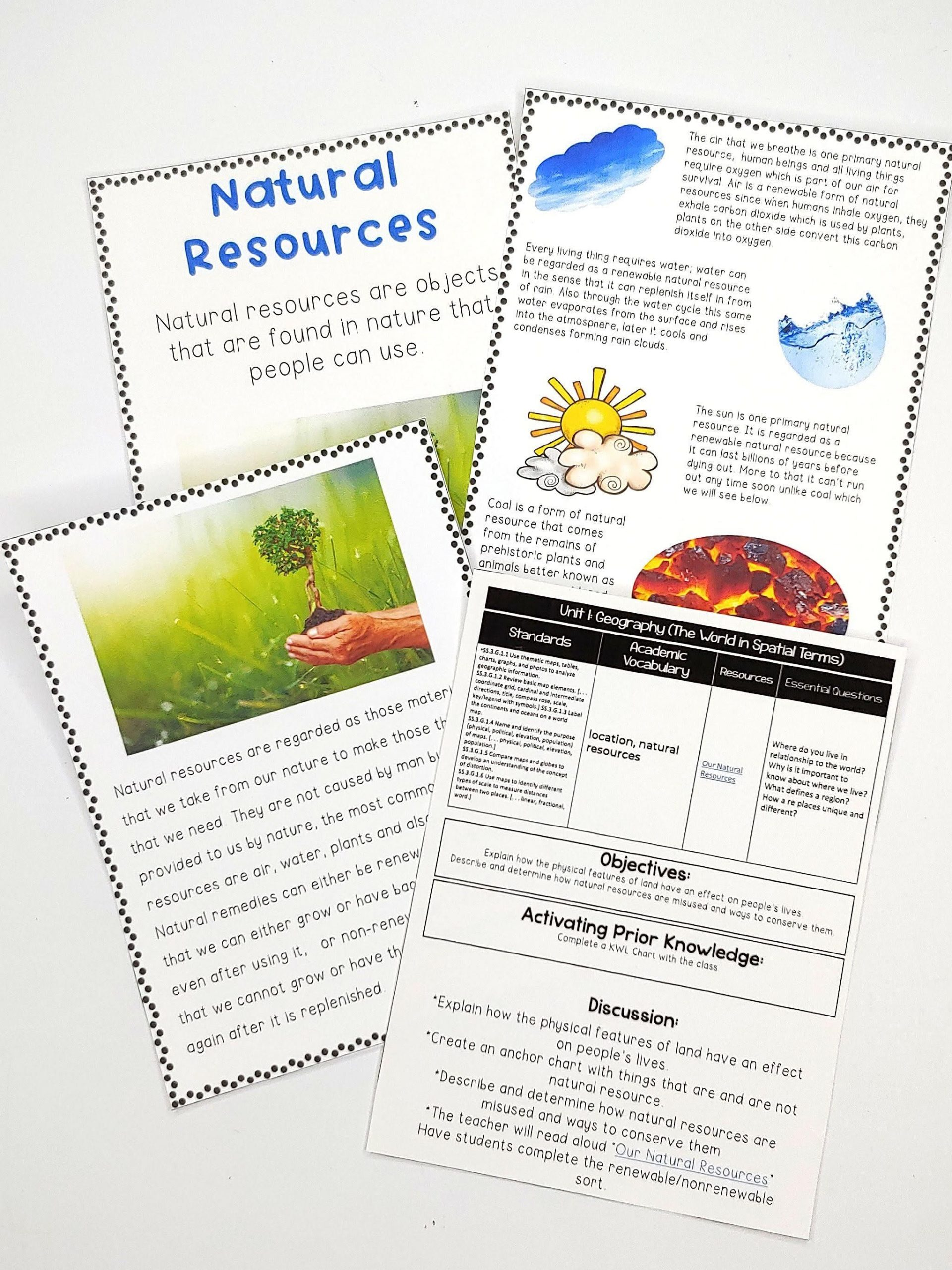 Natural Resources Worksheets 3rd Grade 3rd Grade social Stu S Unit