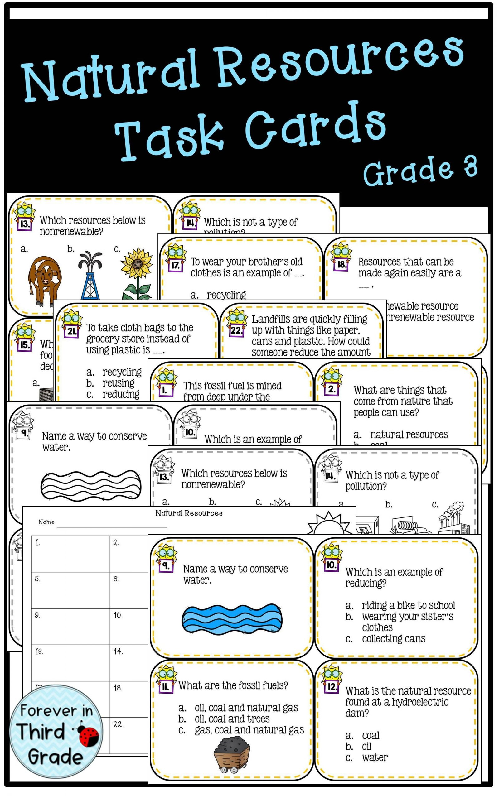 Natural Resources Worksheets 3rd Grade Natural Resources Task Cards