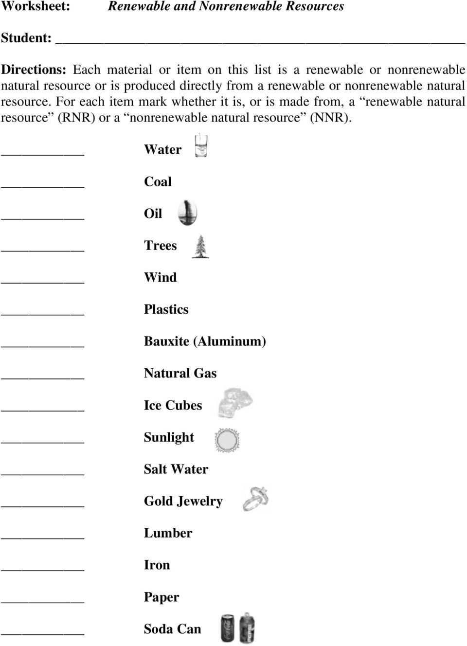 Natural Resources Worksheets 3rd Grade Renewable and Nonrenewable Resources Pdf Free Download