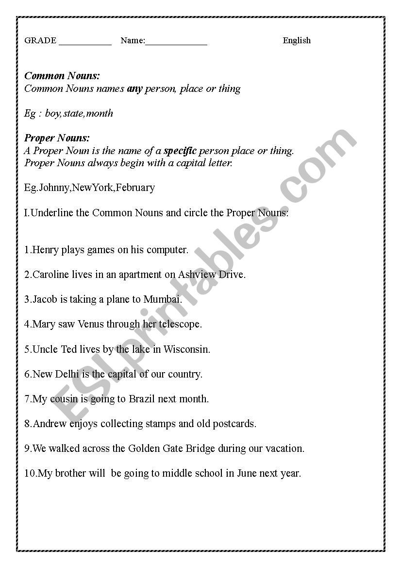 Noun Worksheets Middle School English Worksheet On Mon Proper Nouns and Demonstrative