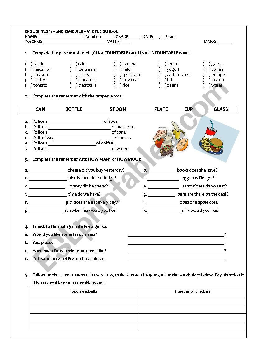 Noun Worksheets Middle School Middle School Test On Countable and Uncountables Nouns Esl