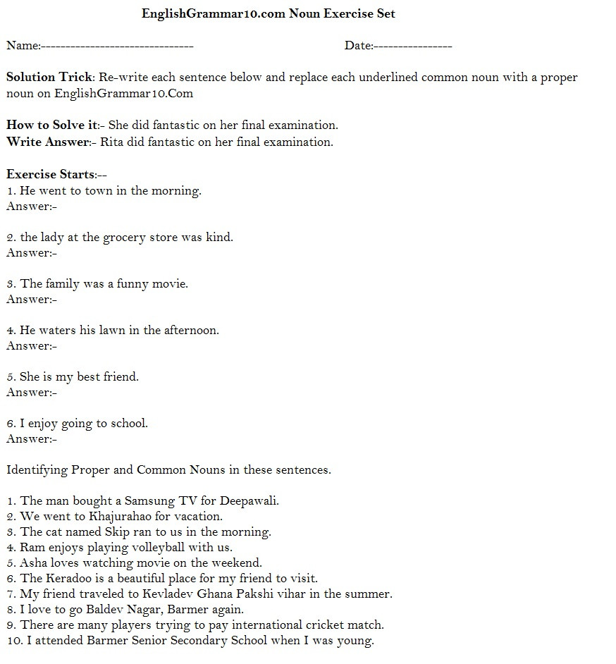 Noun Worksheets Middle School Mon and Proper Noun Worksheet Answers
