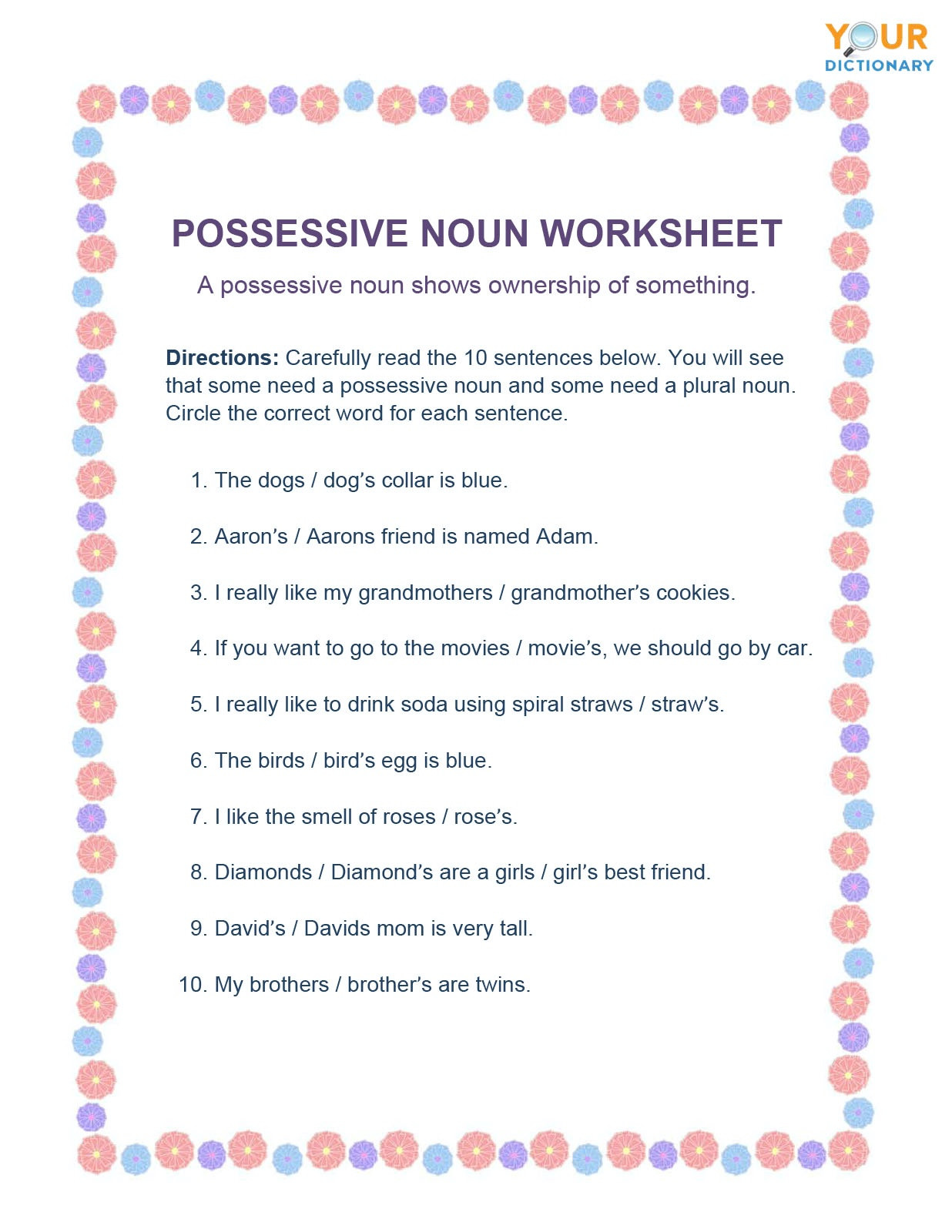 Noun Worksheets Middle School Noun Worksheets