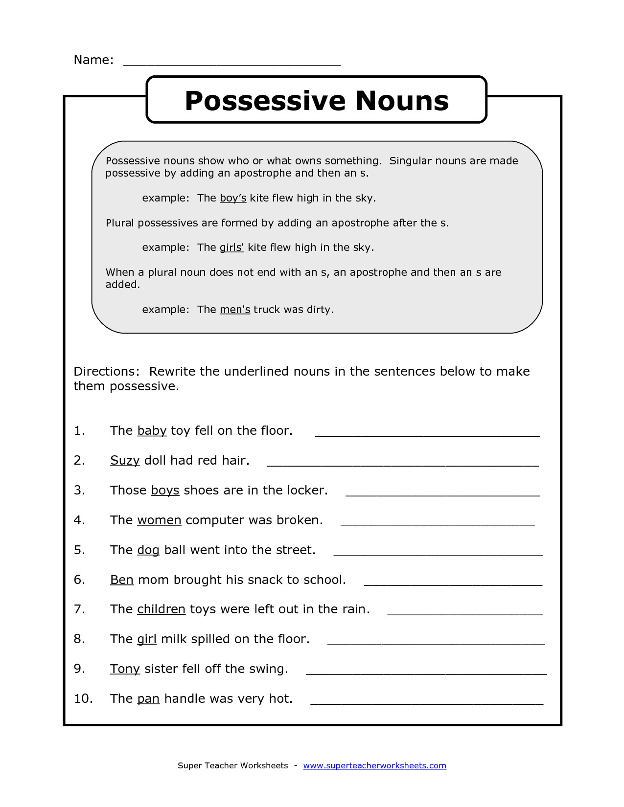 Noun Worksheets Middle School Possessive Nouns Worksheets Elementary