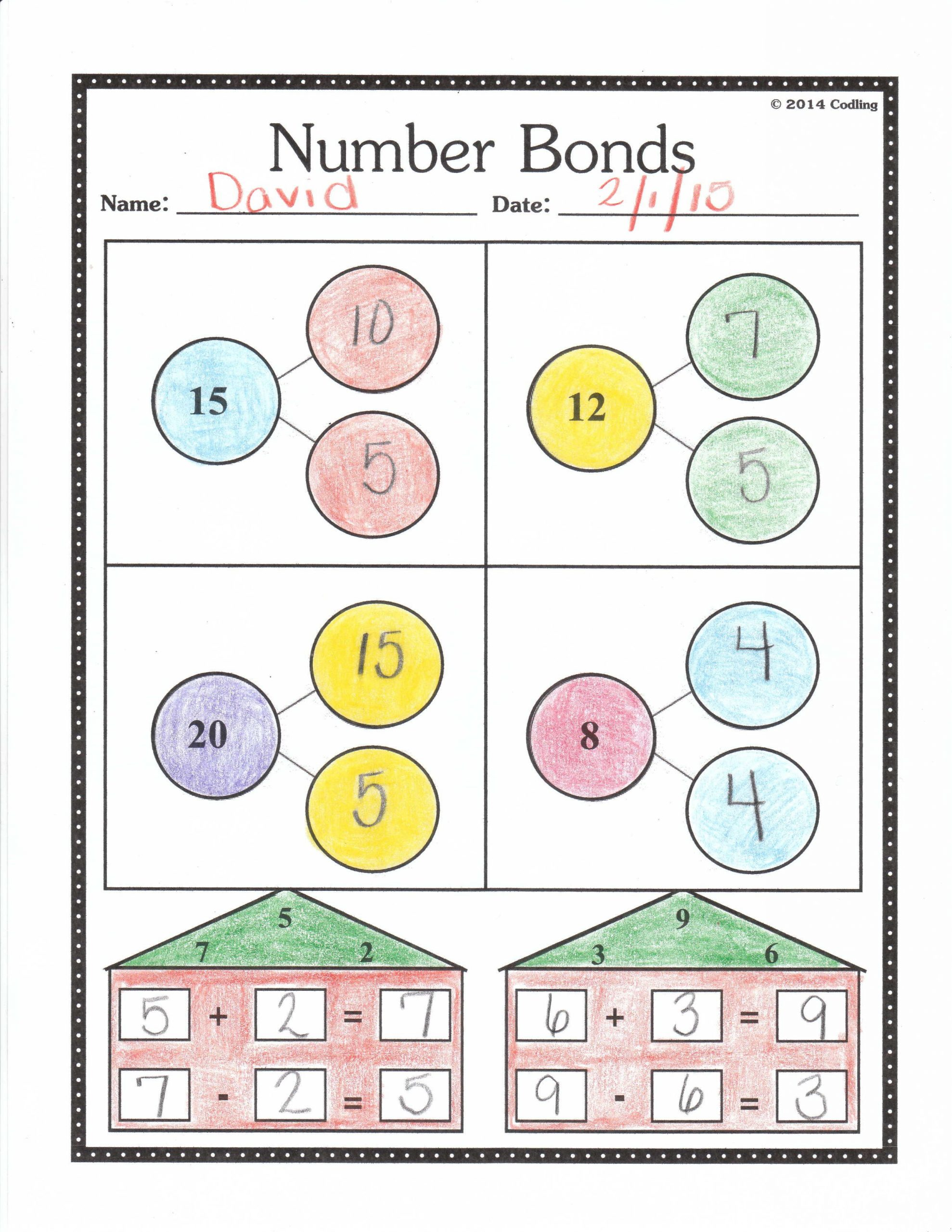Number Bonds Worksheets 1st Grade Number Bonds Worksheet First Grade