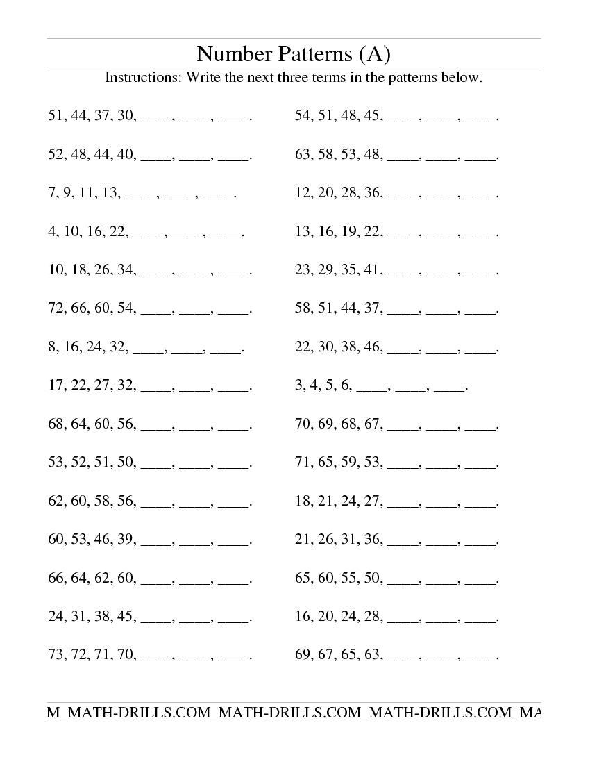 Number Patterns Worksheets 3rd Grade Growing and Shrinking Number Patterns A Patterning