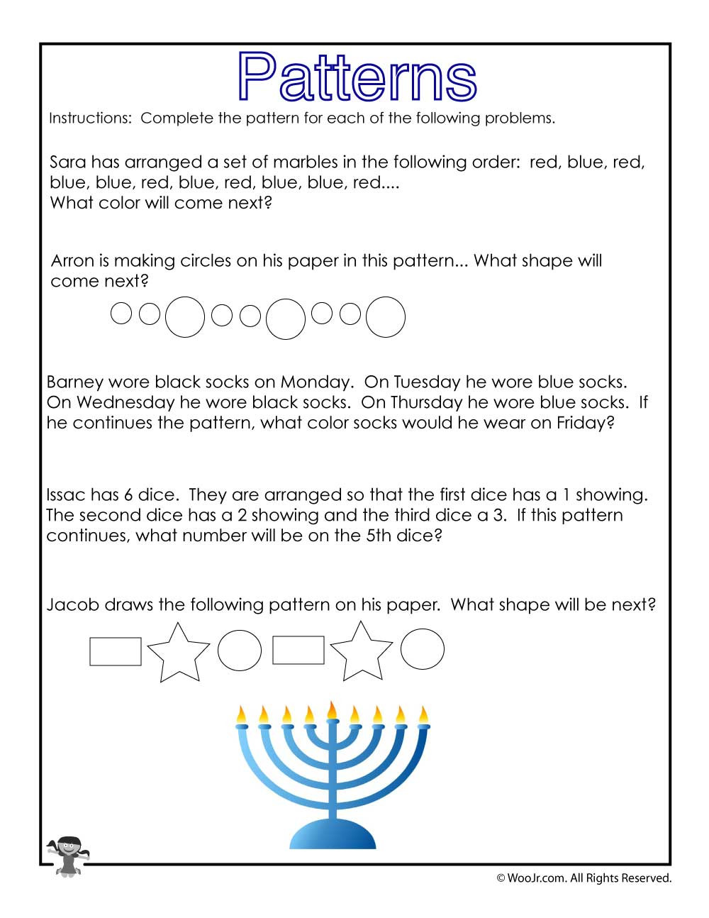 Number Patterns Worksheets 3rd Grade Hanukkah Math Story Problems Worksheet
