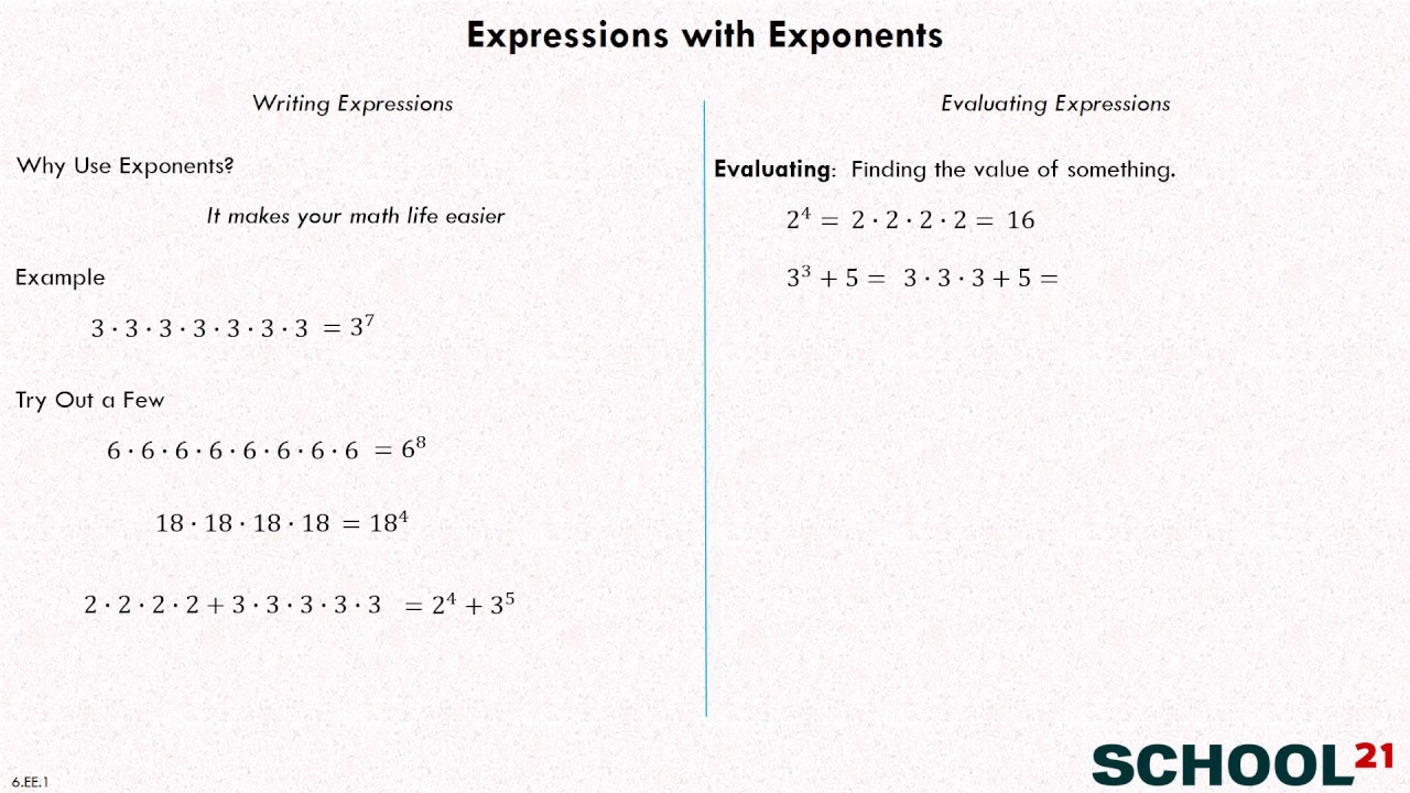 Numerical Expressions Worksheets 6th Grade Expressions with Exponents Examples solutions Videos
