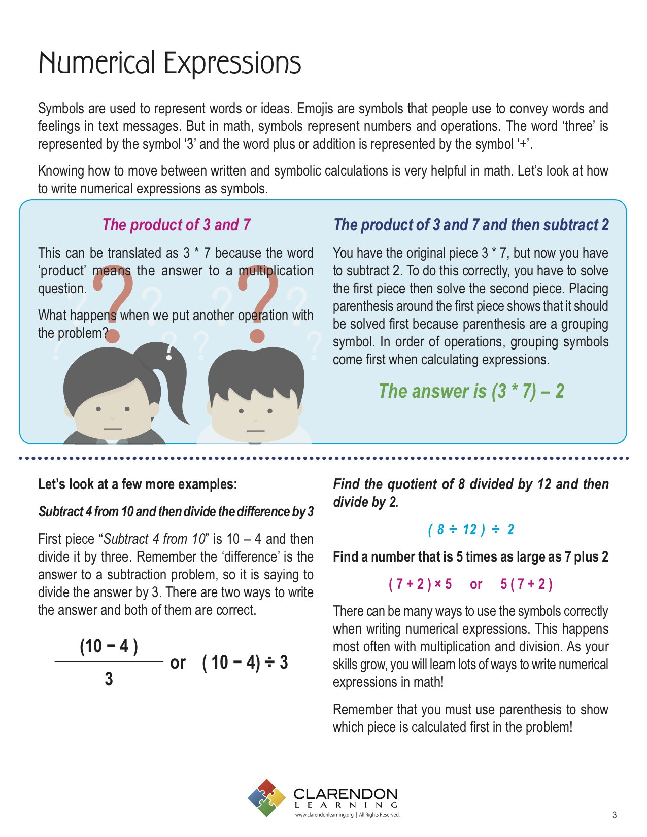 Numerical Expressions Worksheets 6th Grade Numerical Expressions Lesson Plan