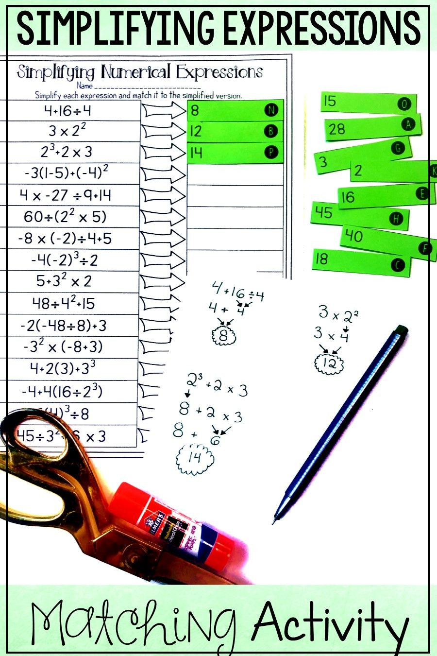 Numerical Expressions Worksheets 6th Grade order Of Operations Matching Activity