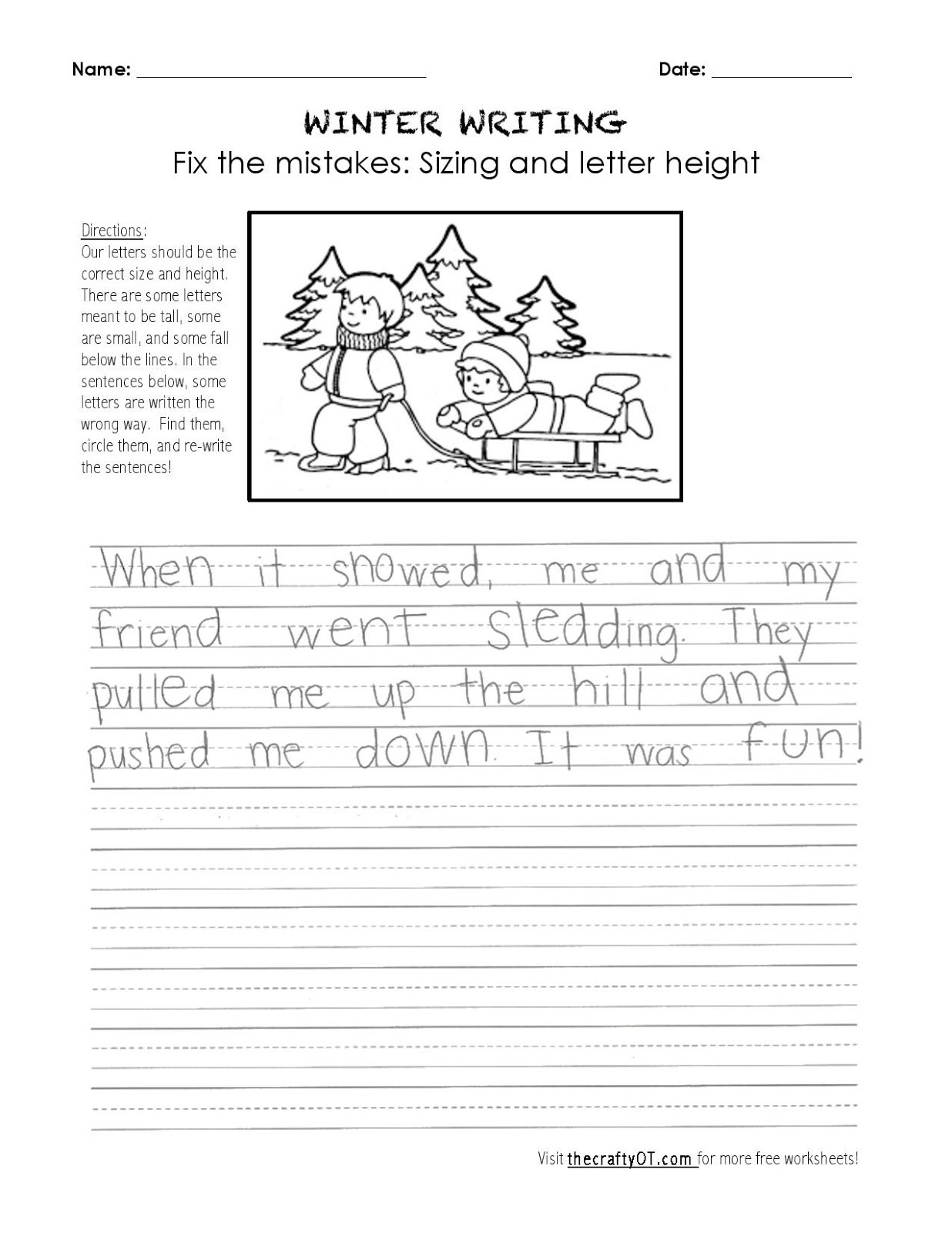 Occupational therapy Handwriting Worksheets the Crafty Ot January 2019