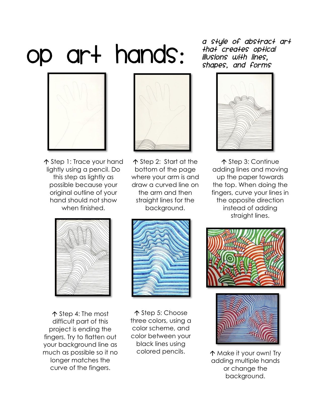 Optical Illusion Worksheets Printable Op Art Hands