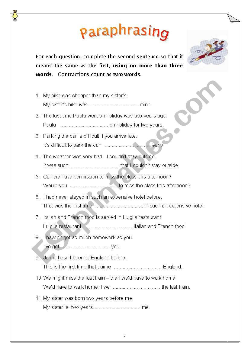 Paraphrase Worksheet 5th Grade Paraphrasing 50 Sentences Esl Worksheet by Carinaluc