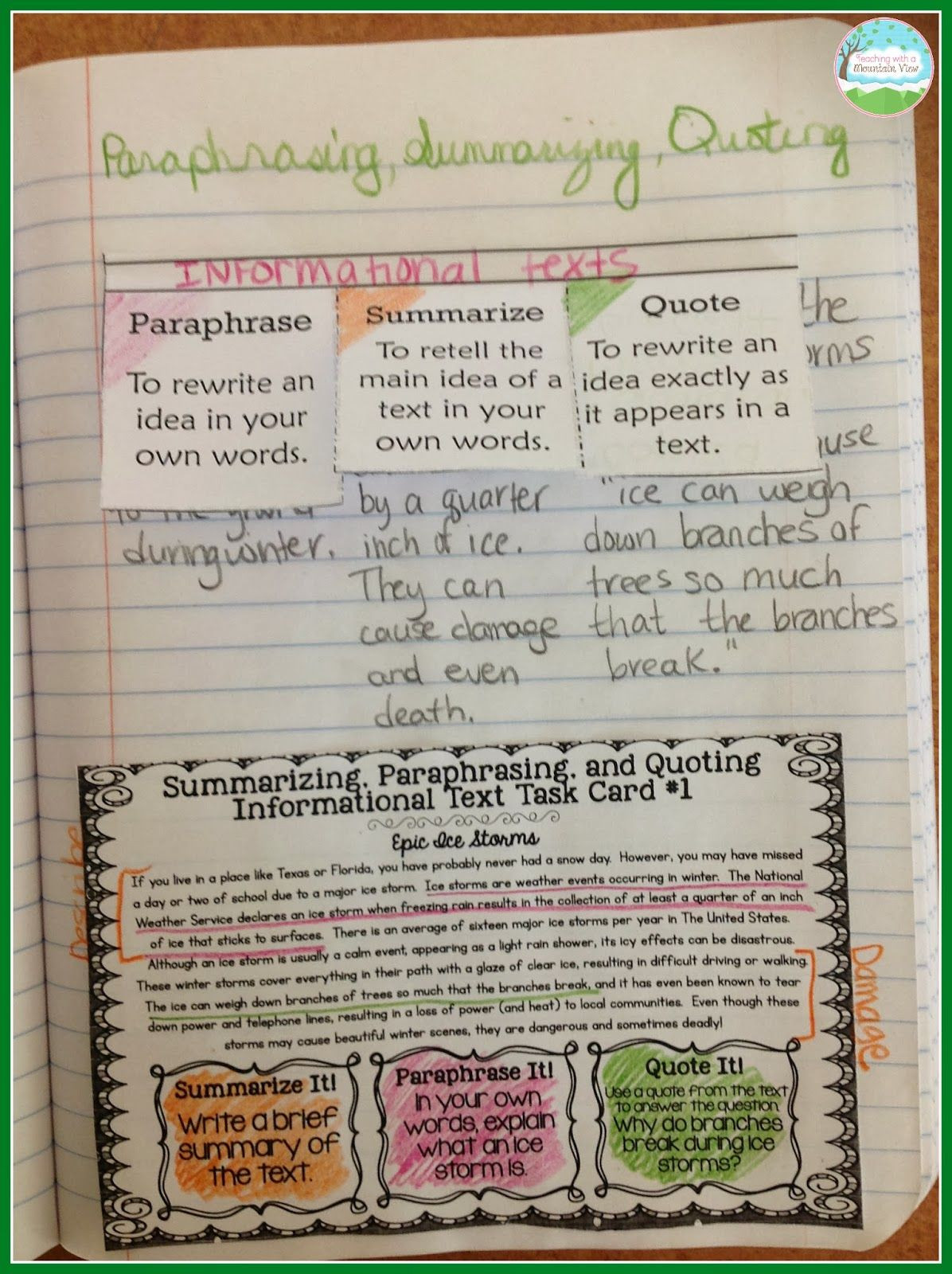 Paraphrase Worksheet 5th Grade Teaching with A Mountain View