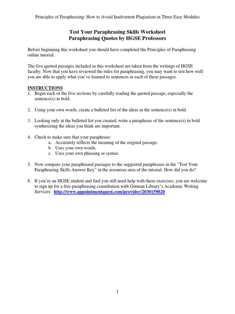 Paraphrase Worksheet 5th Grade Test Your Paraphrasing Skills Worksheet