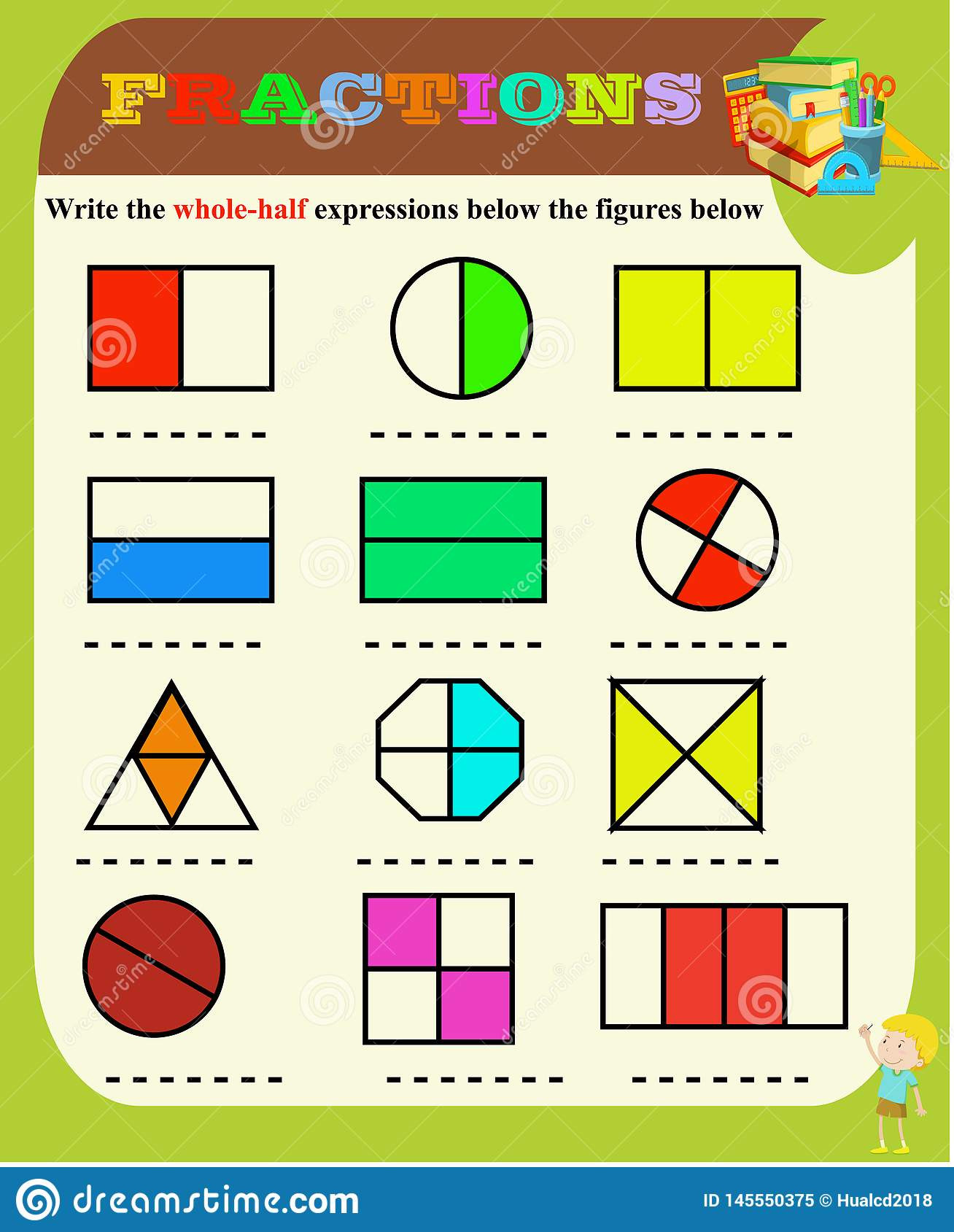 Part Part whole Math Worksheets Half and whole Circle the Correct Fraction Mathematics